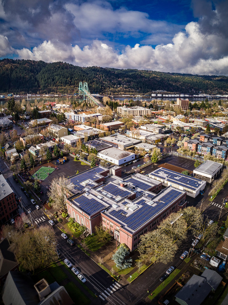 An aerial photograph of James John school with the St Johns bridge in the background.