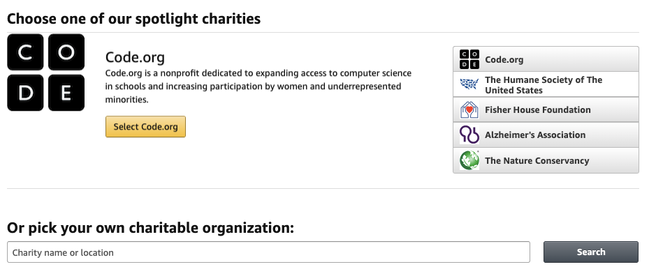 """Use the """"pick your own charitable organization"""" option to search for James John PTA"""